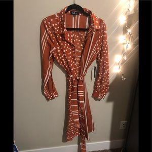 Lulus Rust Orange Striped Polka Dot Shirt Dress